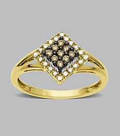 .25 ct. t.w. White and Brown Diamond Ring in 10K Yellow Gold