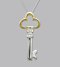 Two-Tone Diamond Key Pendant