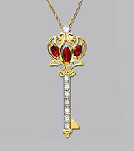 Diamond & Ruby Key Pendant