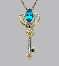 Blue Topaz & Diamond Key Pendant