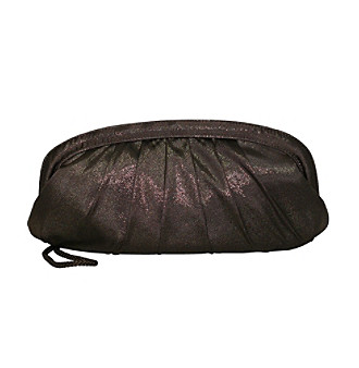 La Regale® Spark Satin Clutch - Brown
