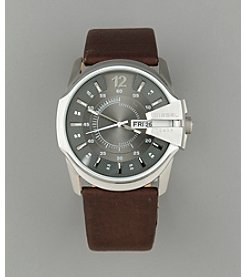 Diesel Men's Silver Cut Out Detail Analog Watch - Brown/Silver