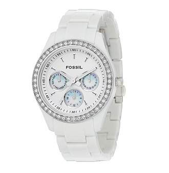 "Fossil® ""Stella"" White Resin Watch"