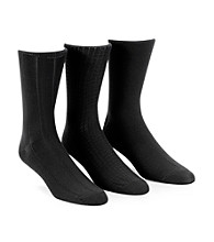 Calvin Klein Men's Black 3-Pack Assorted Microfiber Dress Socks