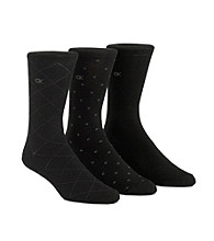 Calvin Klein Men's 3-Pack Assorted Pattern Dress Socks