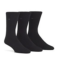 Calvin Klein Men's Black 3-Pack Logo Flat Knit Dress Socks