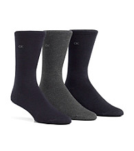 Calvin Klein Men's Logo Flat Knit Dress Socks 3-Pack