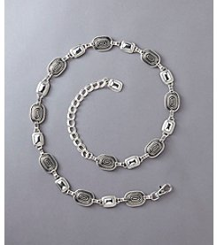Fashion Focus Braided & Oval Chain Belt - Silver