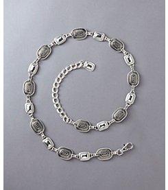 Fashion Focus Braided & Oval Chain Belt - Silver