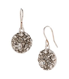 Kenneth Cole® Textured Silvertone Drop Earrings with Crystal Accents