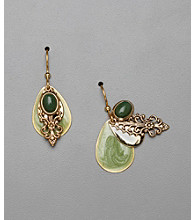 Silver Forest® Teardrop Earrings - Goldtone/Green