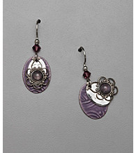 Silver Forest® Silvertone and Purple Oval Drop Earrings