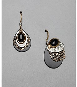 Silver Forest® Teardrop Earrings - Black/Goldtone/Silvertone