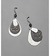 Silver Forest® Teardrop Earrings - Silvertone/Black