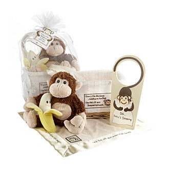 "Baby Aspen ""Five Little Monkeys"" 5-piece Gift Set in Keepsake Basket"