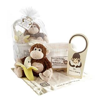 """Baby Aspen """"Five Little Monkeys"""" 5-piece Gift Set in Keepsake Basket"""