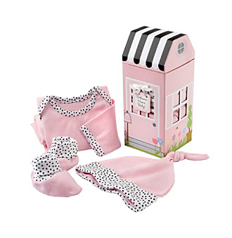 "Baby Aspen ""Welcome Home Baby!"" 3-piece Layette Set in Keepsake Gift Box - Pink"