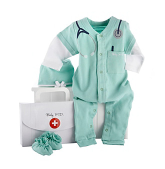 "Baby Aspen ""Big Dreamzzz"" Baby M.D. 2-piece Layette Set in ""Doctor's Bag"" Gift Box"