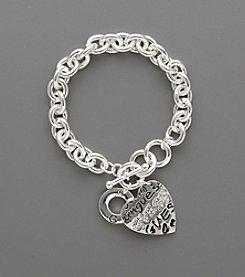 GUESS Silvertone Graffiti Heart Bracelet