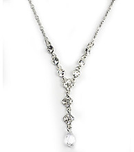 Givenchy® Crystal Drop Y-Necklace - Silvertone
