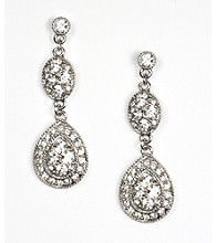 Givenchy® Linear Pave Crystal Drop Earrings - Rhodium