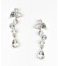 Givenchy® Silvertone Linear Crystal Earrings