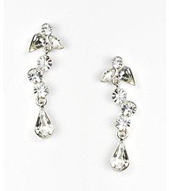 Givenchy® Silvertone Linear Crystal Earrings