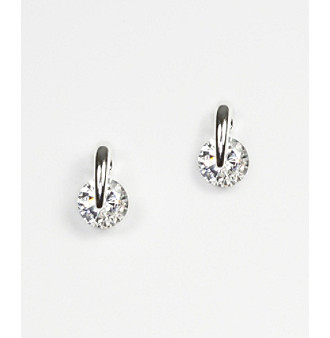 Givenchy® Crystal Cubic Zirconia Button Stud Earrings - Silvertone