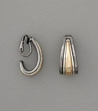 Anne Klein® Clip J Hoop Earrings - Tritone