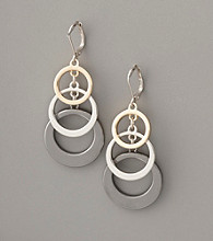 Anne Klein® Circle Drop Earrings - Tritone