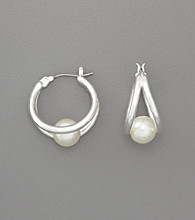 Anne Klein® Pearl Click-it Hoop Earrings - Silvertone