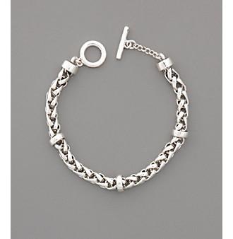 "Lauren Ralph Lauren 8"" Braided Silvertone Chain Bracelet"