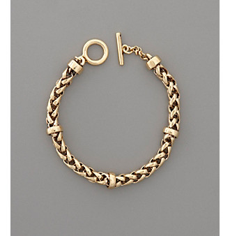 "Lauren Ralph Lauren 8"" Braided Goldtone Chain Bracelet"