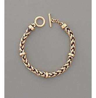 "Lauren Ralph Lauren 8"" Braided Goldtone Chain Bracelet"
