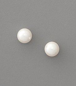 Lauren Ralph Lauren 8mm White Pearl Stud Earrings - Silver