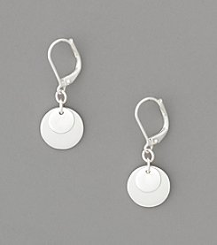 Lauren Ralph Lauren Silvertone Triple Disc Drop Earrings