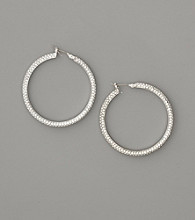 Lauren Ralph Lauren Silvertone Pave Rhinestone Hoop Earrings