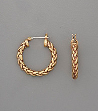 Lauren Ralph Lauren Small Braided Goldtone Hoop Earrings