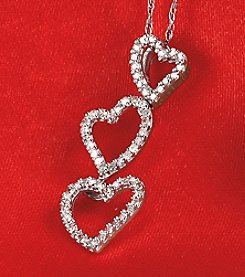 Diamond Triple Heart Pendant