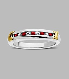 Ruby and White Sapphire Band Ring in Sterling Silver and 14K Yellow Gold