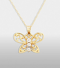 Diamond Accent Butterfly Pendant in 10K Gold