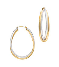 14K Gold and Sterling Silver Hoop Earrings