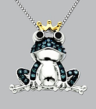 Green and White Diamond Frog Pendant