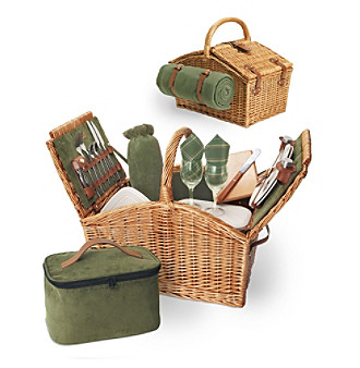 Picnic Time® Somerset English-style Double-lid Willow Basket Service for 2