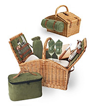 Picnic Time Somerset English-style Double-lid Willow Basket Service for 2
