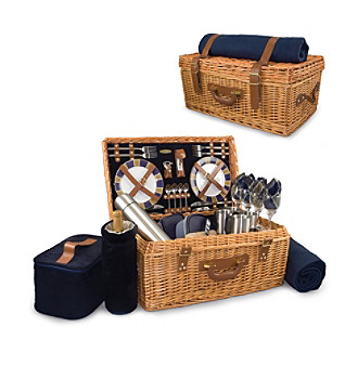 Picnic Time Windsor - English Style Willow Basket Navy
