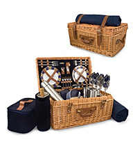 Picnic Time Windsor English-style Willow Suitcase Premium Service for 4