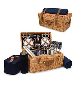 Picnic Time® Windsor English-style Willow Suitcase Premium Service for 4