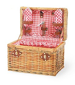 Picnic Time Chardonnay Willow Basket Service for 2