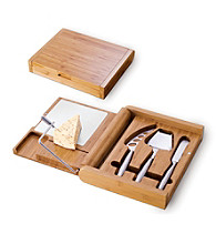 Picnic Time Soiree Hinge-Top Wooden/Aluminum Cutting Board